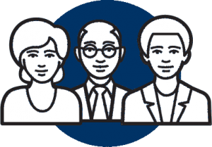 Blue and white icon of three individuals