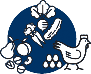 Blue and white icon of food items including a chicken, eggs, radish, cucumber, carrots, pears, peaches and acorns