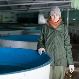 Woman in toque and wet gear beside aquaculture tanks